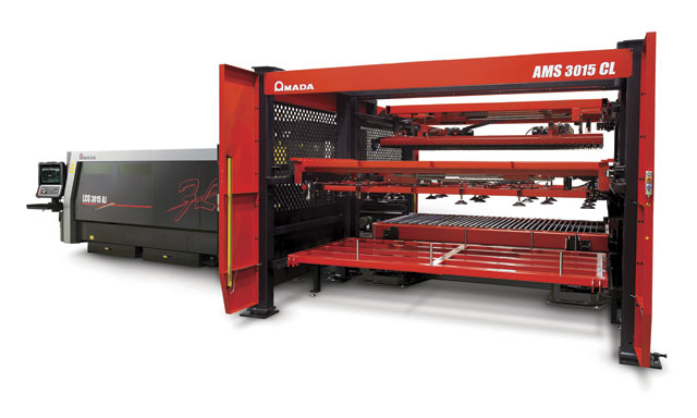 Amada's 9 kW LCG 3015 AJ fiber laser with automated material handling system. Material handling is just one of many considerations when investing in higher speed lasers and integrating them into a fabrication shop.  Image: Amada