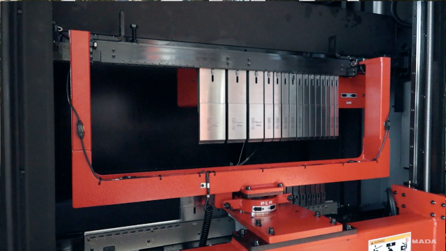 Amada's press brake equipped with a patented automatic tool changer
