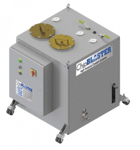 Small high pressure coolant (HPC) units such as this one are suitable for many machine tools, and are an excellent way to control and evacuate chips while increasing productivity. Image: Chipblaster