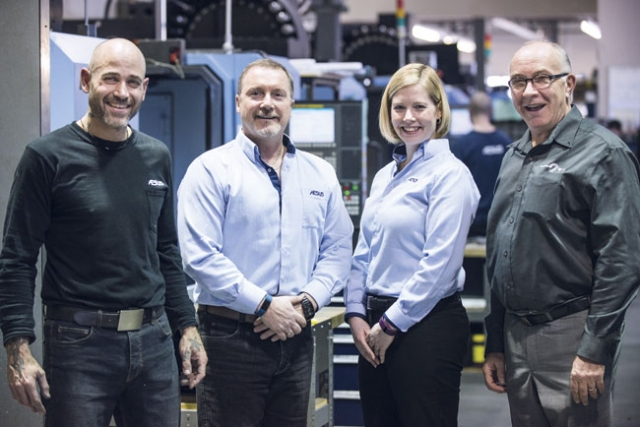 From left: Christian Heidt, machine shop manager; Daniel Lachapelle, Aesus CEO; Samantha Lewis, VP of operations; and Daniel Poirier, sales manager at Ferro Technique.