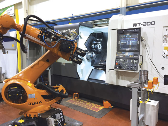Tending a live tool, twin spindle lathe is an ideal task for this industrial robot. Image: Elliott Machinery