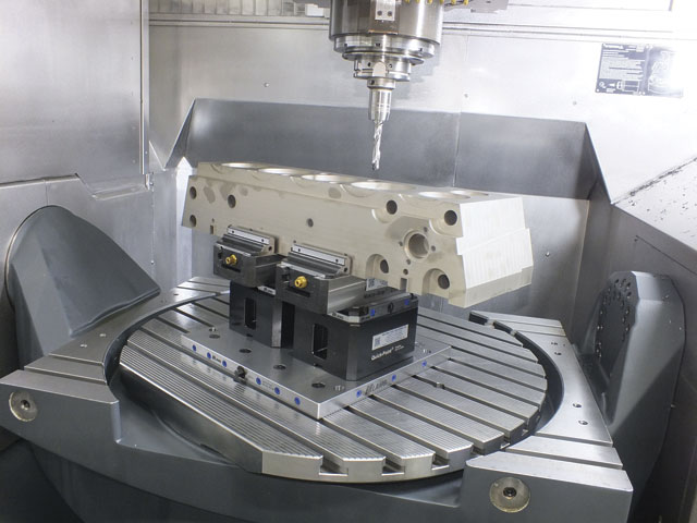 The Lang workholding system holds parts like this mould component securely.
