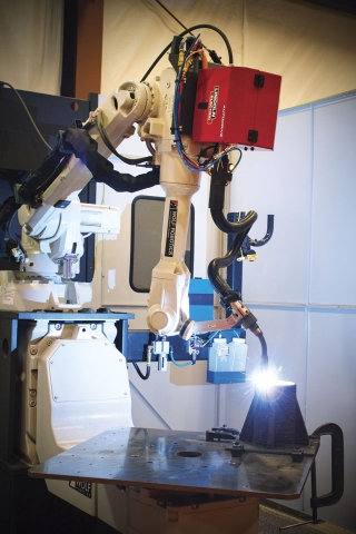 A  Lincoln Electric additive manufacturing system from its Wolf Robotics division.