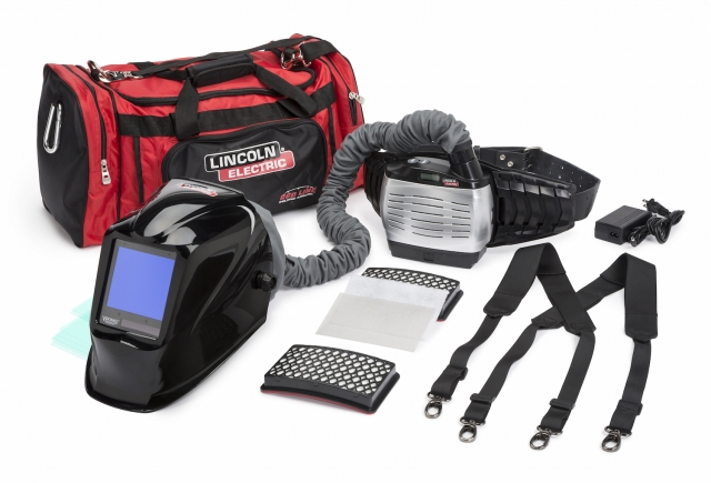 Lincoln Electric's updated Viking PAPR 3350 welding helmet with 4C lens technology and an optional extended battery pack