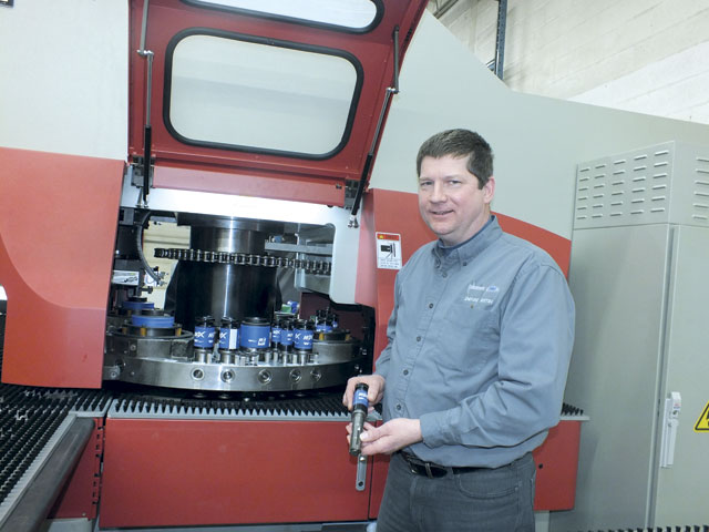 Michael Grieger selected Wilson Tool's thick turret tooling system, the HPX toolholder with quick-change EXP punches, because he liked that he could use the same toolholder for multiple punches instead of having to purchase full assemblies for each job.