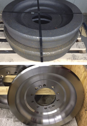 Before and after views of 4340 steel forged and heat-treated railroad car wheels. The process time was reduced by 30 per cent after implementing GC4305 inserts from Sandvik Coromant.