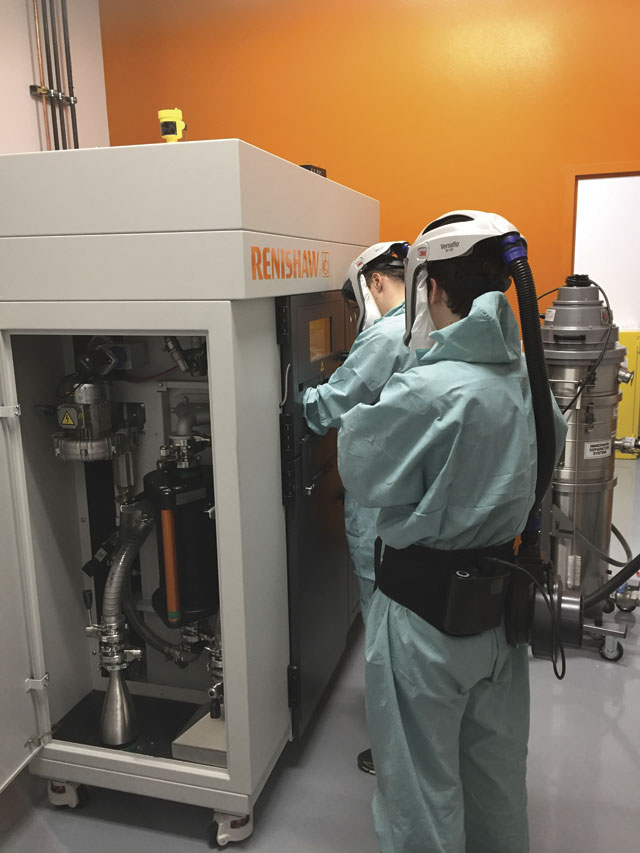 One of Renishaw's metal additive machines at the Solutions Centre.