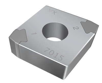 Sandvik Coromant's Xcel insert has a 45° nose, similar to a CNMG insert. It eliminates wear and can also produce a shoulder.