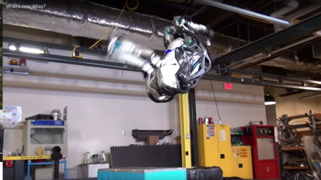 Boston Dynamics's two-legged Atlas robot does backflips