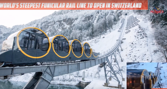 Worldl's steepest funicular rail line in Switzerland