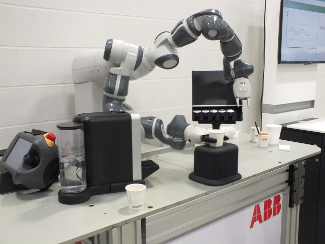 ABB's collaborative robot serving up espressos for visitors