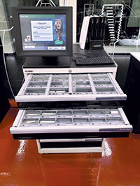 "Shown here is a typical ""Lista-style"" cabinet, ideal for managing inserts, drill tips and more.  Walter tools"
