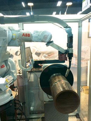 An ABB pipe welding system in action.IMAGE: ABB