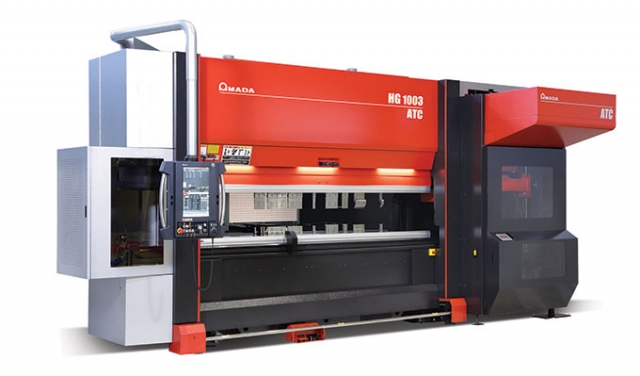 Amada's HG 1003 ATC boasts an integrated tool changer and storage for up to 25 m (86 ft) of tooling. Amada