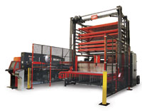 Amada's EMK 3612  turret punch press equipped with an automated material handling system.  IMAGE: Amada
