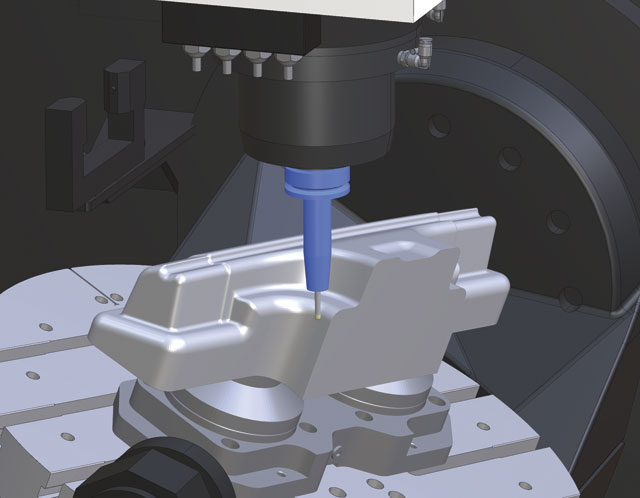 The toolpaths from this pillar punch were programmed in Mastercam and then brought into CAMplete for verification and additional optimization. image: CAMplete