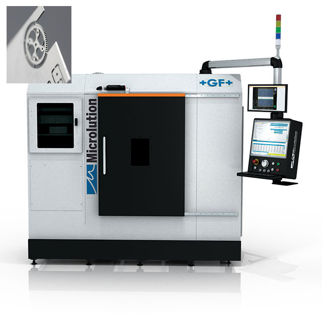 Watchmaking is one of the many industries that relies on ultra-small, ultra-precision machined components made with machines such as GF Machining Solutions Microlution laser cutting platforms, seen below.