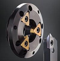 Horn USA's new High-Speed Whirling system uses a front-mounted insert to simultaneously rough and finish turn the workpiece. Image: Horn USA