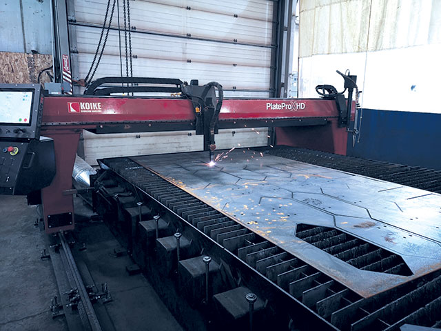 Shoreline Fabrication purchased this Koike Aronson machine equipped with the Hypertherm XPR300 plasma cutting technology from Western Canadian distributor All Fabrication Machinery to help meet growing demand.