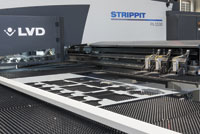 LVD Strippit's PX series features 20 indexable tool stations that can bend up to three inches (76.2 mm) and process long progressive bends.