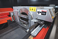 The integrated rotary index on the ENSIS RI fiber laser cutting system is an efficient way for shops to handle sheet and tube in a single machine.