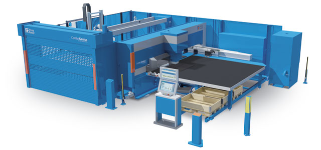 Prima Power's Combi Genius punching-laser cutting cell with the Compact Express material handling system. IMAGE: Prima Power