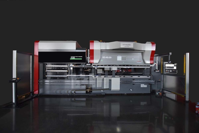 MC Machinery System's new automatic tool changer for its BH series of dual drive press brakes