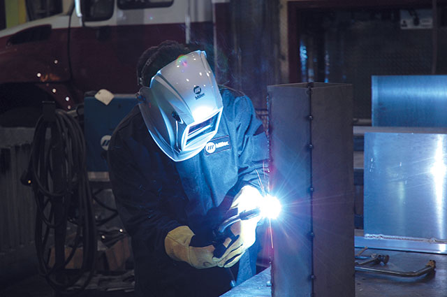 Pulsed MIG welding delivers high productivity on many materials and thicknesses, along with a reduced risk of defects like burn-through and distortion.   IMAGE: Miller Electric