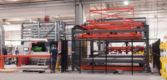 After investing in the Bystronic fiber laser, Titan added an automated material handling unit connected to an Antil material warehousing system and an Xpert press brake, all driven by Bystronic's Bysoft7 software.