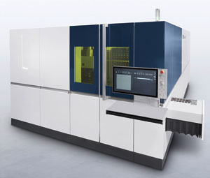 TRUMPF's TruLaser 5030 fiber equipped with the new Smart Nozzle automation and Quick Swap features.