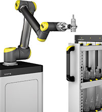 The »cora« system from Zoller is able to pick, clean, assemble, clamp, measure and store tools and tool assemblies without human assistance. ZOLLER