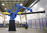 If an application requires handling large, heavy items, a large reach heavy payload robot is in order.