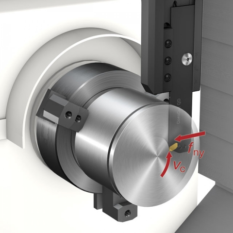 While conventional parting-off tools align with the X axis of the machine tool, the Y axis tool has been rotated 90° counterclockwise to align with the Y axis.