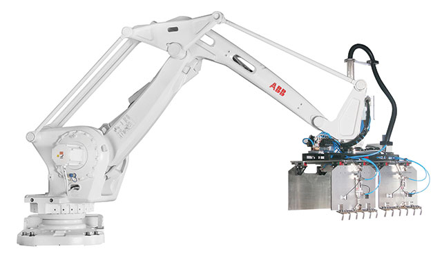 The end-of-arm tooling assembly on this ABB robot shows that custom grippers can be made to handle practically anything.