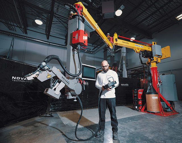 Abicor Binzel offers the Novarc Spool Welding Robot (SWR), which features a collaborative robot to help simplify a complex process.