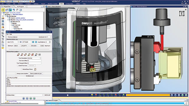 Simulation MDI testing on a five axis gantry machine with additive Directed Energy Deposition (DED) retrofit system to manufacture large propeller parts.