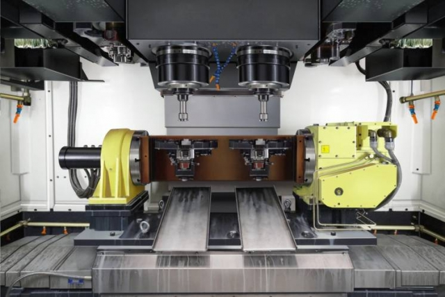 The Gemini Series twin spindle vertical machining centre. PHOTO: Toyoda Americas