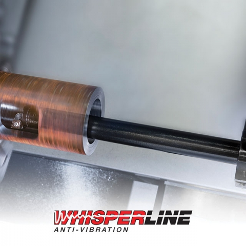 ISCAR's Whisperline boring tools contain a heavy tungsten mass supported between elastomeric elements. This Dynamic Vibration Absorber (DVA) is said to reduce vibrations in overhangs between  7 x D and up to 14 x D.  Iscar Tool