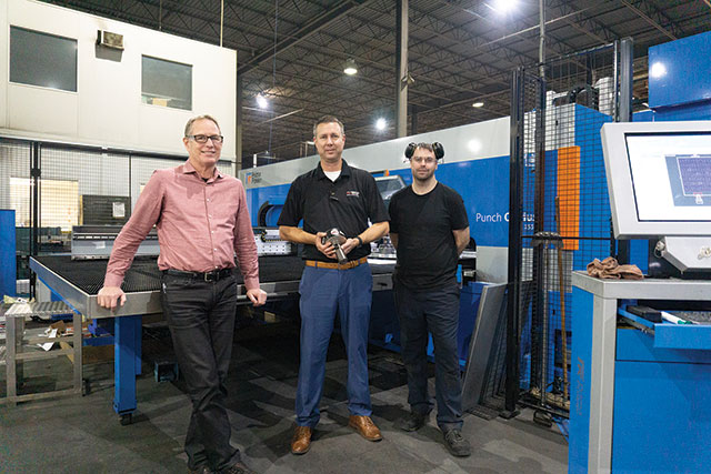 Top from left: Ken Fleming, Circa Metals VP of operations, Peter Visser, Mate Precision Tooling sales engineer, and Sean Reid, turret press setup operator.
