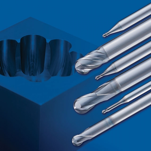 OSG's A-Brand Ball End Mills feature the company's Durorey coating with high chipping resistance, even in materials above 60 HRC.