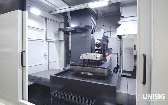 UNISIG's USC-M milling and drilling centres conduct deep hole drilling and milling operations in one machine.