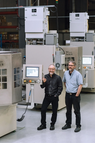 Harry Schellenberg and his brother Dan, co-owners of Echo Hill Automation and inventors of the Tactic 8 automated centreless grinding cell. Echo Hill Automation
