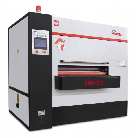 The Jonsen SGB1300 automatic two-side-one-pass deburring and edge rounding machine