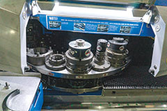 Once programmed, the system fabricates parts automatically with punched features; bends, taps and threaded holes are all done without operator intervention.