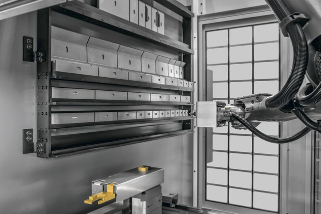 Bystronic's Xpert press brake with an integrated tool changer means the brake can now swap tools automatically.