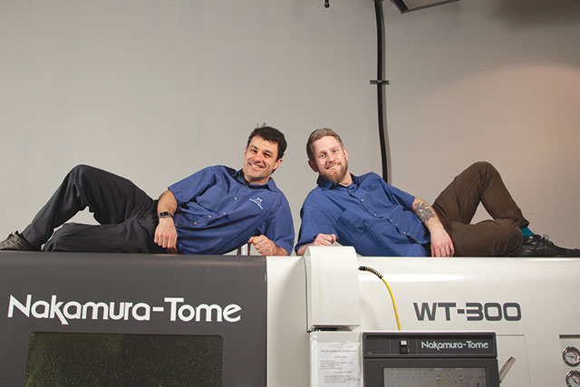 IT-savvy Sullivan Machine Works' owners Noah Wesche, left and Aaron Christensen, right with their Nakamura-Tome machine.