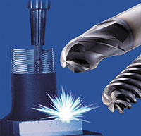 OSG has developed a series of cutting tools designed specifically for hybrid additive machining,  the AM-EBT ball-type and AM-CRE radius-type end mills.