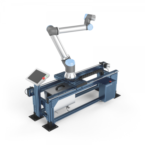 Universal Robots cobots intergated with plasma cutting and orbital sanding
