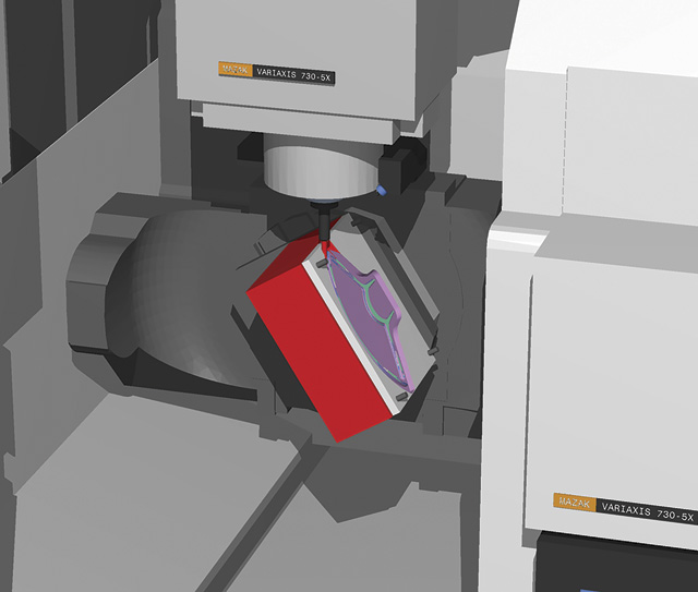 Mazak machine showing a table crash resulting from an incorrect positioning move. Image: CGTECH