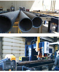 The HGG pipe cutting line cuts 600 to 700 feet per day, depending on the size, thickness and grade of pipes going through the system.